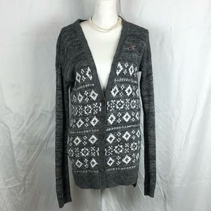 Hollister Size S Aztec Cardigan button up Grey